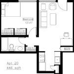 Astor Place Floor Plan — 1 Bedroom
