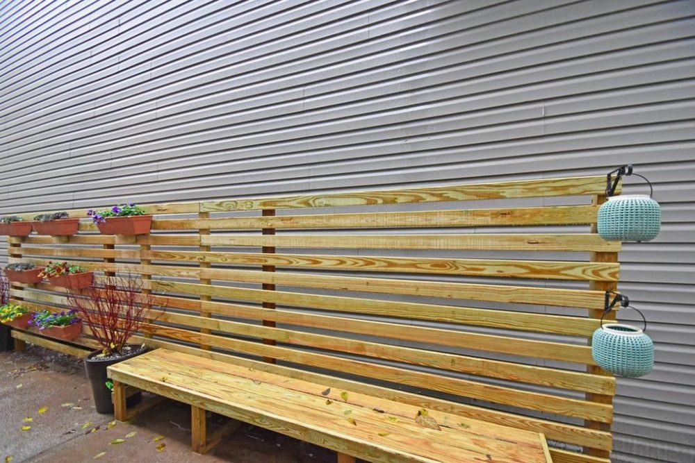 bench and living wall